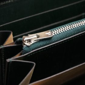 クレイトン社製ブライドルレザーのグリーン色のラウンドファスナー長財布(シルバー色)-1-12