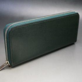 クレイトン社製ブライドルレザーのグリーン色のラウンドファスナー長財布(シルバー色)-1-2