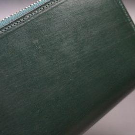 クレイトン社製ブライドルレザーのグリーン色のラウンドファスナー長財布(シルバー色)-1-3