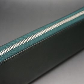 クレイトン社製ブライドルレザーのグリーン色のラウンドファスナー長財布(シルバー色)-1-4