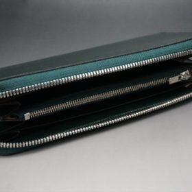 クレイトン社製ブライドルレザーのグリーン色のラウンドファスナー長財布(シルバー色)-1-7