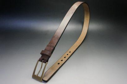 J.ベイカー社製ブライドルレザーのダークブラウン色の30mmベルト(ビジネスバックル/ゴールド色/M)-1-1