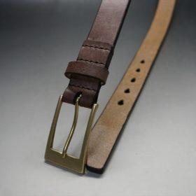J.ベイカー社製ブライドルレザーのダークブラウン色の30mmベルト(ビジネスバックル/ゴールド色/M)-1-2