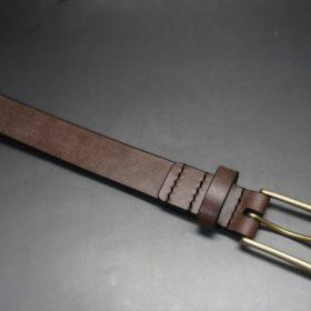 J.ベイカー社製ブライドルレザーのダークブラウン色の30mmベルト(ビジネスバックル/ゴールド色/M)-1-4