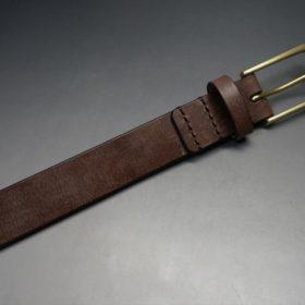 J.ベイカー社製ブライドルレザーのダークブラウン色の30mmベルト(ビジネスバックル/ゴールド色/M)-1-5