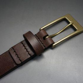 J.ベイカー社製ブライドルレザーのダークブラウン色の30mmベルト(ビジネスバックル/ゴールド色/M)-1-6