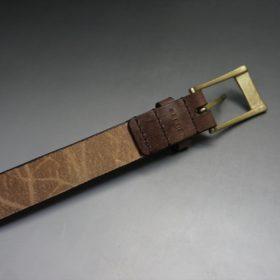 J.ベイカー社製ブライドルレザーのダークブラウン色の30mmベルト(ビジネスバックル/ゴールド色/M)-1-7