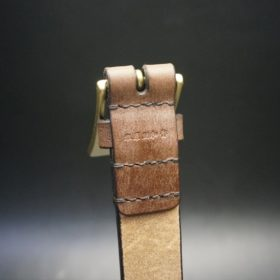J.ベイカー社製ブライドルレザーのダークブラウン色の30mmベルト(ビジネスバックル/ゴールド色/M)-1-8