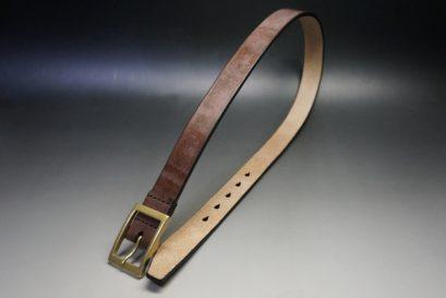 J.ベイカー社製ブライドルレザーのダークブラウン色の30mmベルト(カジュアルバックル/ゴールド色)-1-1
