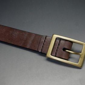 J.ベイカー社製ブライドルレザーのダークブラウン色の30mmベルト(カジュアルバックル/ゴールド色)-1-4