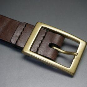 J.ベイカー社製ブライドルレザーのダークブラウン色の30mmベルト(カジュアルバックル/ゴールド色)-1-5