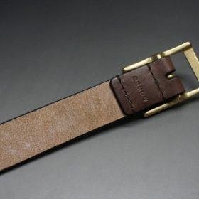 J.ベイカー社製ブライドルレザーのダークブラウン色の30mmベルト(カジュアルバックル/ゴールド色)-1-7