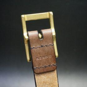 J.ベイカー社製ブライドルレザーのダークブラウン色の30mmベルト(カジュアルバックル/ゴールド色)-1-8