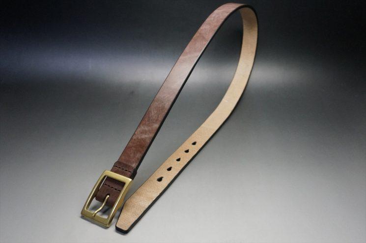 J.ベイカー社製ブライドルレザーのダークブラウン色の30mmベルト(カジュアルバックル/ゴールド色/M)-1-1