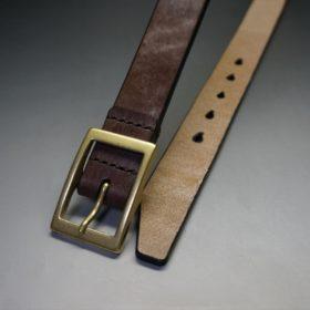 J.ベイカー社製ブライドルレザーのダークブラウン色の30mmベルト(カジュアルバックル/ゴールド色/M)-1-2