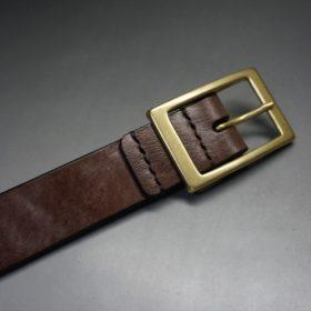 J.ベイカー社製ブライドルレザーのダークブラウン色の30mmベルト(カジュアルバックル/ゴールド色/M)-1-6