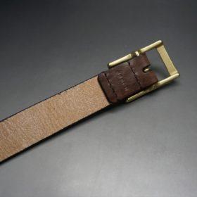 J.ベイカー社製ブライドルレザーのダークブラウン色の30mmベルト(カジュアルバックル/ゴールド色/M)-1-7