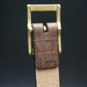 J.ベイカー社製ブライドルレザーのダークブラウン色の30mmベルト(カジュアルバックル/ゴールド色/M)-1-8