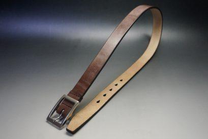 J.ベイカー社製ブライドルレザーのダークブラウン色の30mmベルト(カジュアルバックル/シルバー色/S)-1-1