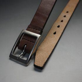 J.ベイカー社製ブライドルレザーのダークブラウン色の30mmベルト(カジュアルバックル/シルバー色/S)-1-2
