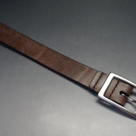 J.ベイカー社製ブライドルレザーのダークブラウン色の30mmベルト(カジュアルバックル/シルバー色/S)-1-4
