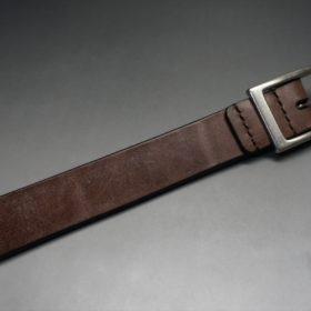 J.ベイカー社製ブライドルレザーのダークブラウン色の30mmベルト(カジュアルバックル/シルバー色/S)-1-5