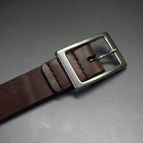 J.ベイカー社製ブライドルレザーのダークブラウン色の30mmベルト(カジュアルバックル/シルバー色/S)-1-6