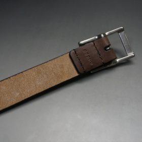 J.ベイカー社製ブライドルレザーのダークブラウン色の30mmベルト(カジュアルバックル/シルバー色/S)-1-7