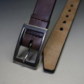 J.ベイカー社製ブライドルレザーのダークブラウン色の30mmベルト(カジュアルバックル/シルバー色)-1-2