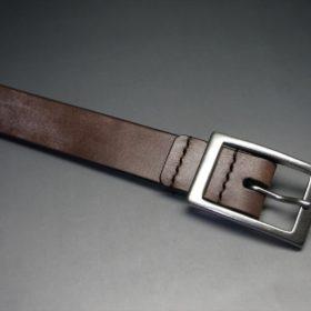 J.ベイカー社製ブライドルレザーのダークブラウン色の30mmベルト(カジュアルバックル/シルバー色)-1-4