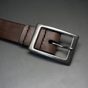 J.ベイカー社製ブライドルレザーのダークブラウン色の30mmベルト(カジュアルバックル/シルバー色)-1-5