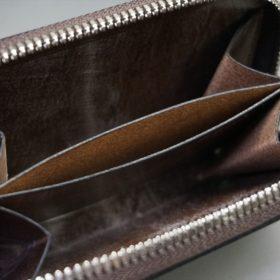 J.ベイカー社製ブライドルレザーのダークブラウン色のラウンドファスナー小銭入れ(シルバー色)-1-12