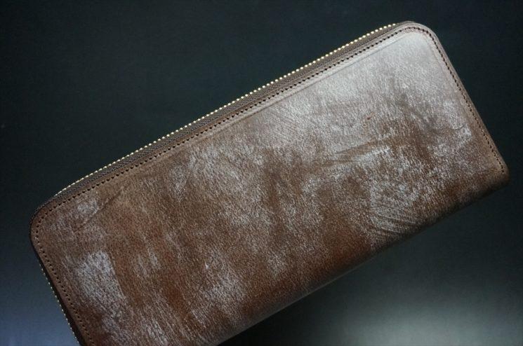 J.ベイカー社製ブライドルレザーのダークブラウン色のラウンドファスナー長財布(ゴールド色)-1-1