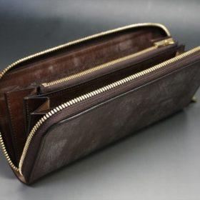 J.ベイカー社製ブライドルレザーのダークブラウン色のラウンドファスナー長財布(ゴールド色)-1-10