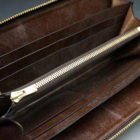 J.ベイカー社製ブライドルレザーのダークブラウン色のラウンドファスナー長財布(ゴールド色)-1-11