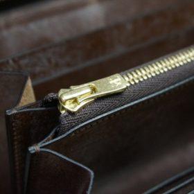 J.ベイカー社製ブライドルレザーのダークブラウン色のラウンドファスナー長財布(ゴールド色)-1-12