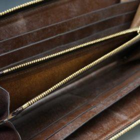 J.ベイカー社製ブライドルレザーのダークブラウン色のラウンドファスナー長財布(ゴールド色)-1-13