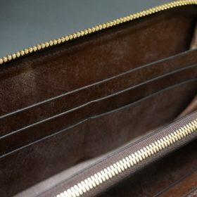 J.ベイカー社製ブライドルレザーのダークブラウン色のラウンドファスナー長財布(ゴールド色)-1-14