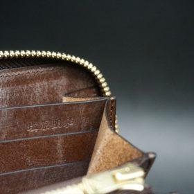J.ベイカー社製ブライドルレザーのダークブラウン色のラウンドファスナー長財布(ゴールド色)-1-15