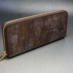 J.ベイカー社製ブライドルレザーのダークブラウン色のラウンドファスナー長財布(ゴールド色)-1-2