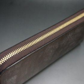 J.ベイカー社製ブライドルレザーのダークブラウン色のラウンドファスナー長財布(ゴールド色)-1-4