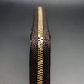 J.ベイカー社製ブライドルレザーのダークブラウン色のラウンドファスナー長財布(ゴールド色)-1-5