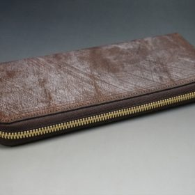 J.ベイカー社製ブライドルレザーのダークブラウン色のラウンドファスナー長財布(ゴールド色)-1-6