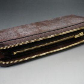 J.ベイカー社製ブライドルレザーのダークブラウン色のラウンドファスナー長財布(ゴールド色)-1-7