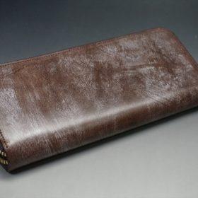 J.ベイカー社製ブライドルレザーのダークブラウン色のラウンドファスナー長財布(ゴールド色)-1-8