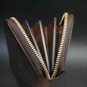 J.ベイカー社製ブライドルレザーのダークブラウン色のラウンドファスナー長財布(ゴールド色)-1-9