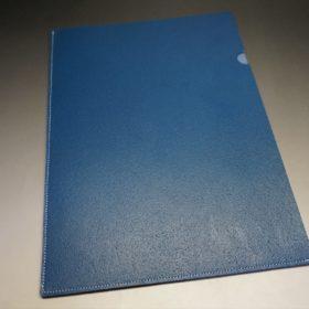 トーマスウェア社製ブライドルレザーのブルー色の床革ファイル-2-2
