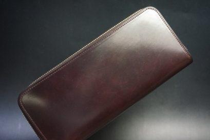 ホーウィン社製シェルコードバンの#8色のラウンドファスナー長財布(ゴールド色)-3-1