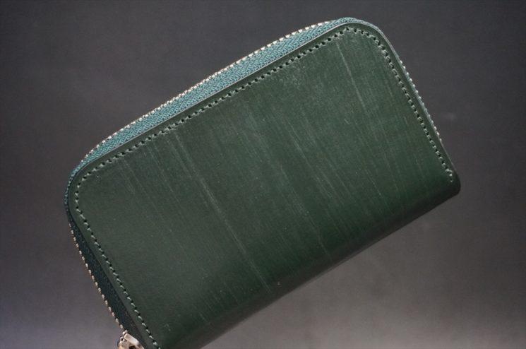 クレイトン社製ブライドルレザーのグリーン色のラウンドファスナー小銭入れ(シルバー色)-1-1