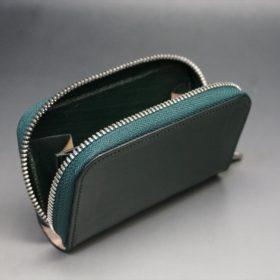 クレイトン社製ブライドルレザーのグリーン色のラウンドファスナー小銭入れ(シルバー色)-1-10